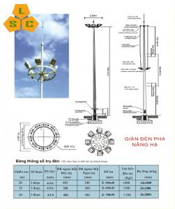 Cột giàn đèn nâng hạ đa giác 14m, 15m, 17m, 18m, 19m, 20m, 22m, 25m ,28m, 30m