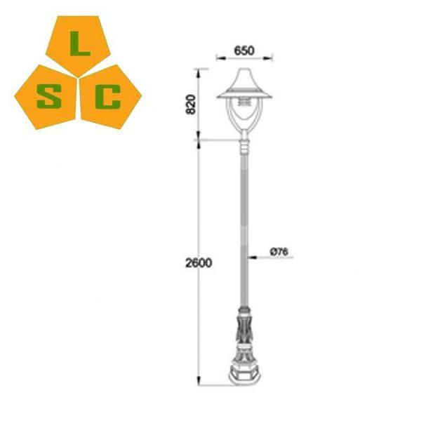 Cột sân vườn DC02 đế gang