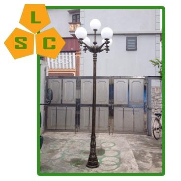 Cột đèn sân vườn DC02 đế gang sơn giả đồng