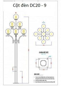 Bản vẽ cột đèn sân vườn DC20 - 9 bóng