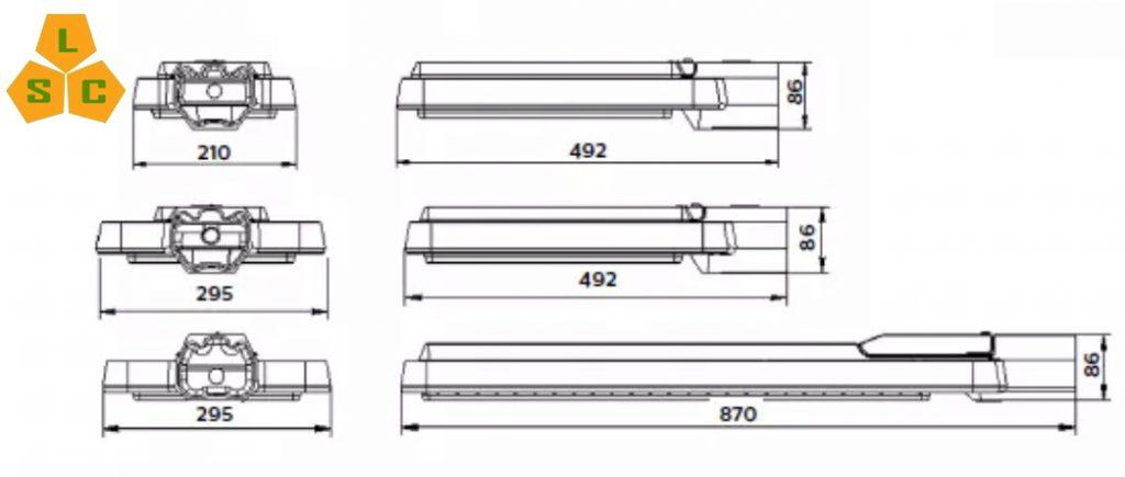 Kích thước đèn đường Led Philips SLC-DL12