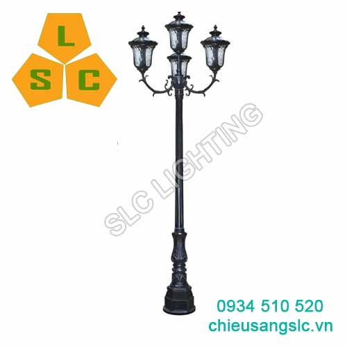 Cột (trụ) đèn trang trí sân vườn 4 bóng SLC-DC02C