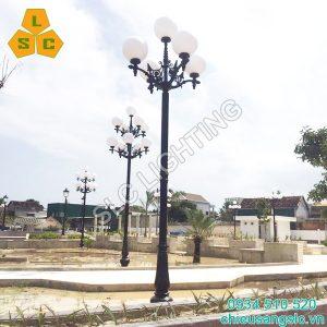 Cột trụ đèn trang trí sân vườn DC07(banian) CH11-5 lắp cầu Đục D400