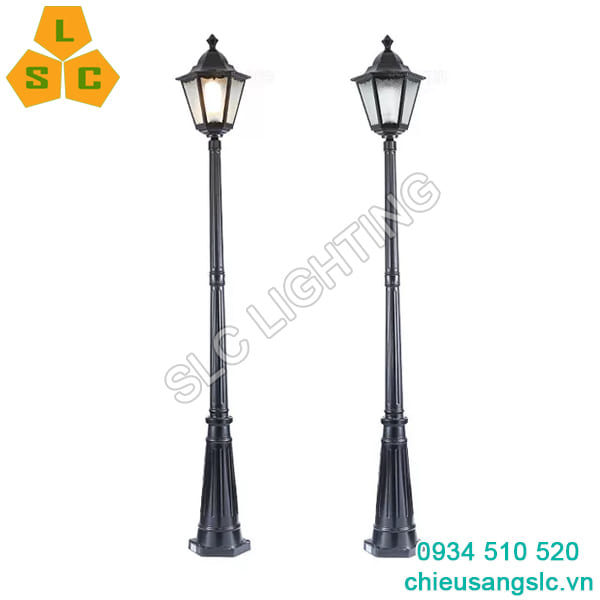 Cột đèn trang trí sân vườn 1 bóng SLC8A29 màu đen